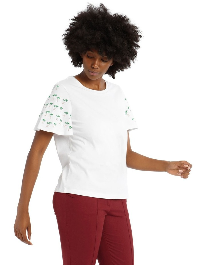 T-Shirt with Embroidered Palm Tree Detail image 2