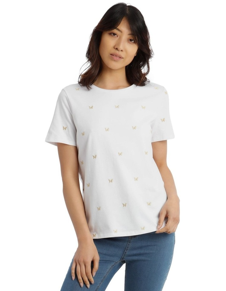 T-Shirt with Embroidered Butterfly Detail image 1