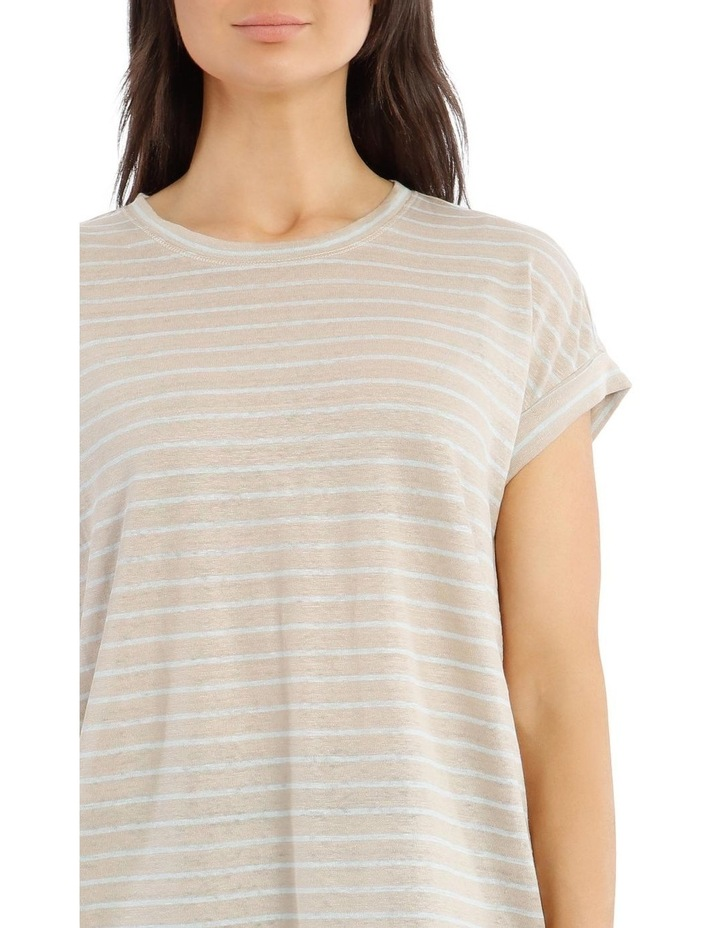 Linen Tee with Scoop Neck and Cuff Sleeves image 4