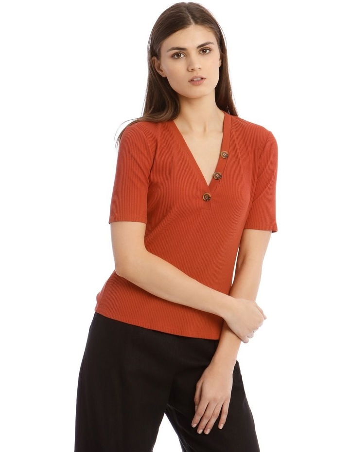 Ribbed Tee With Button Detail image 1