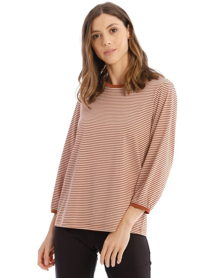 Striped Bubble Sleeve Solid Tee image 1