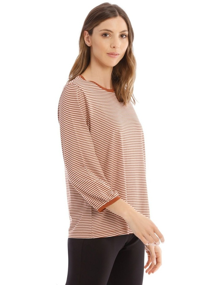 Striped Bubble Sleeve Solid Tee image 2