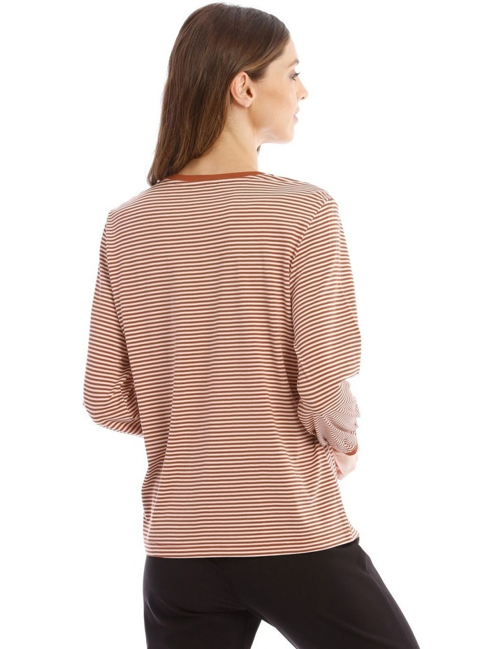 Striped Bubble Sleeve Solid Tee image 3