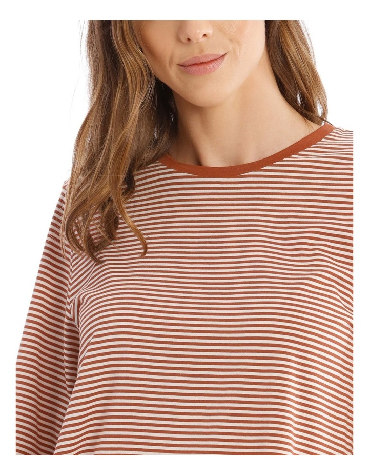 Striped Bubble Sleeve Solid Tee image 4