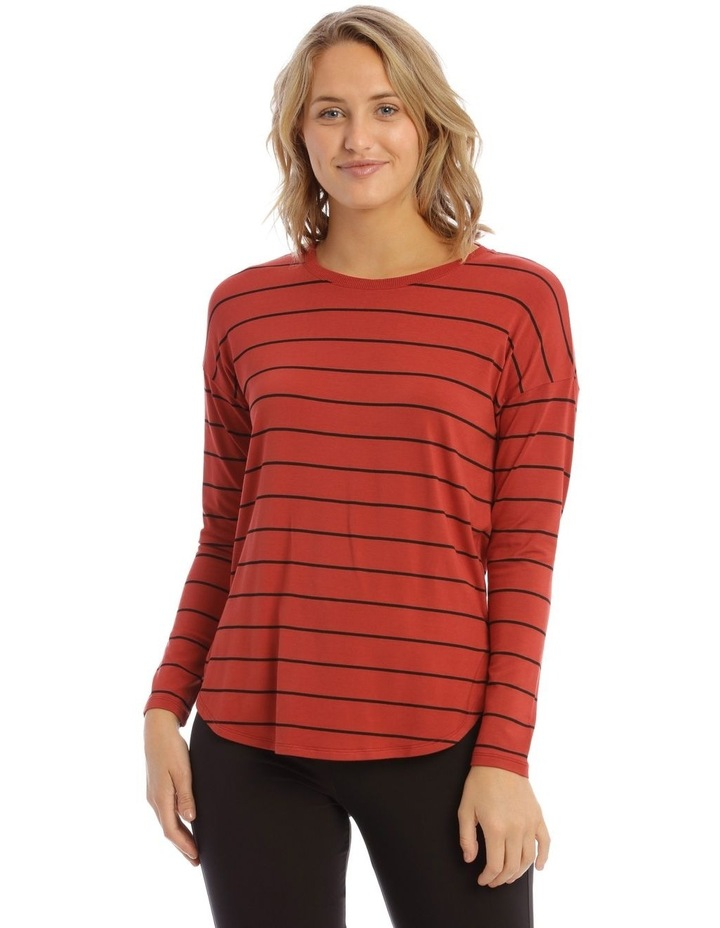 Oversized Crew Neck Long Sleeve Stripe Tee image 1