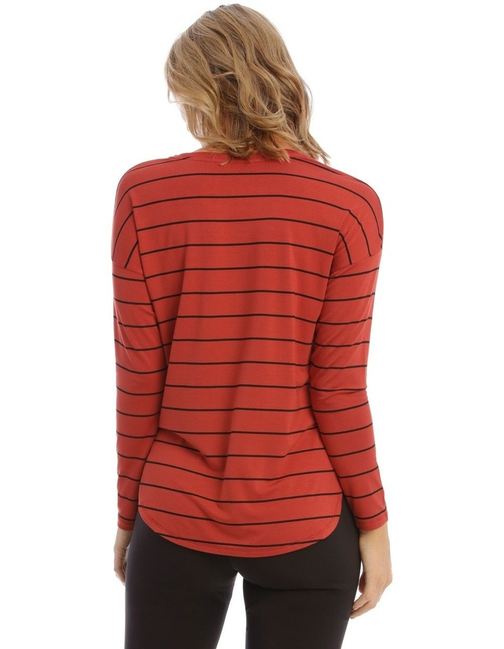 Oversized Crew Neck Long Sleeve Stripe Tee image 3