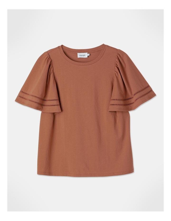 Organic Cotton Sleeve Trim Tee Terracotta image 1