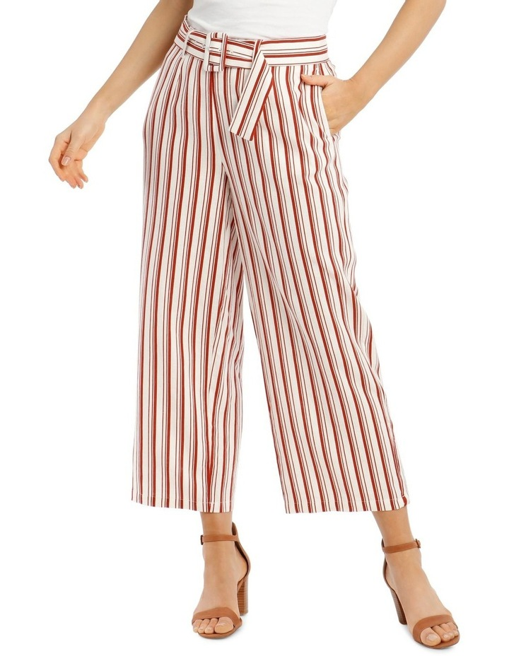 Full Length Pant With Belt And Buckle - Ecru Chilli Stripe image 1