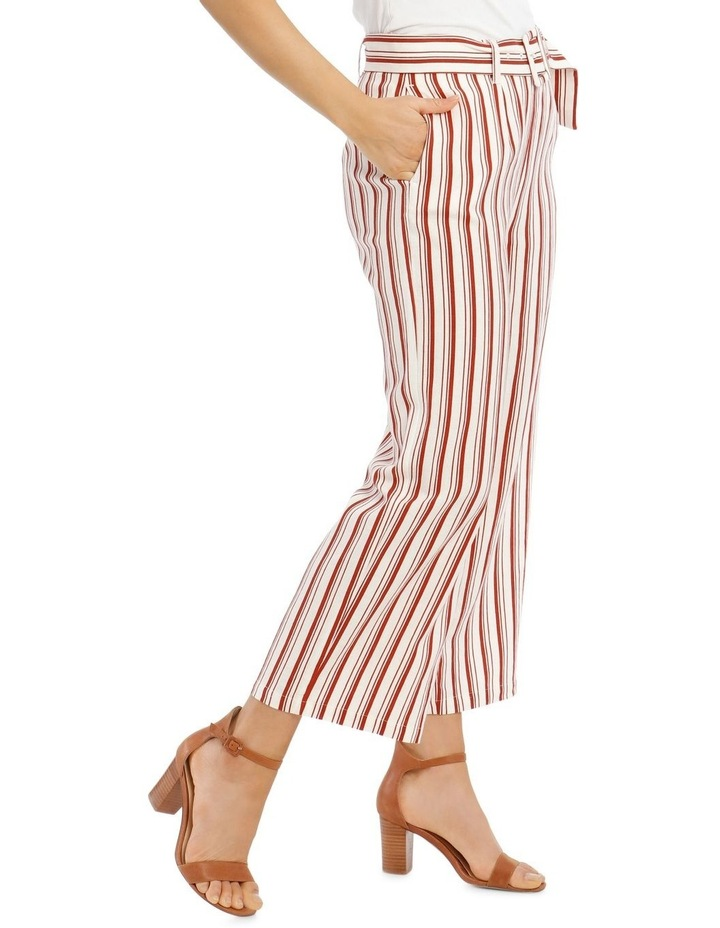 Full Length Pant With Belt And Buckle - Ecru Chilli Stripe image 2