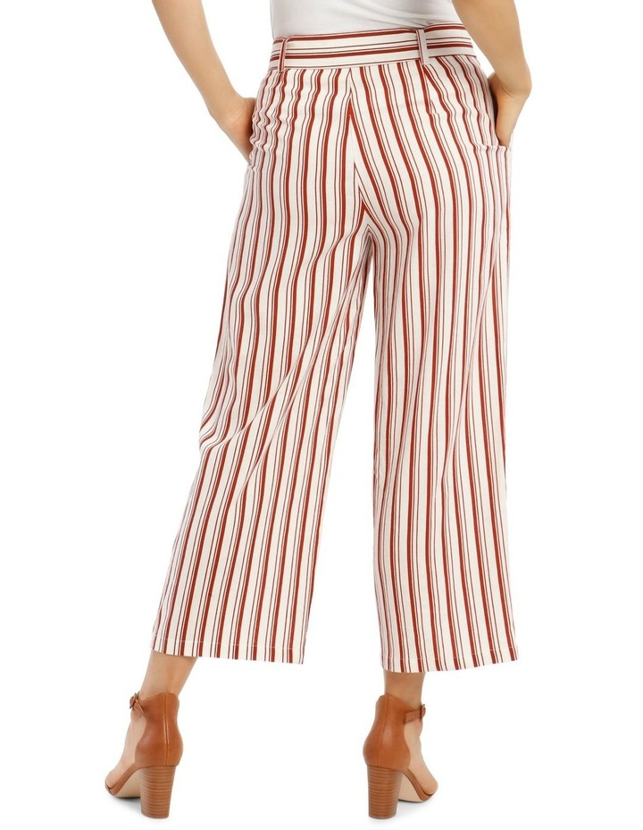 Full Length Pant With Belt And Buckle - Ecru Chilli Stripe image 3