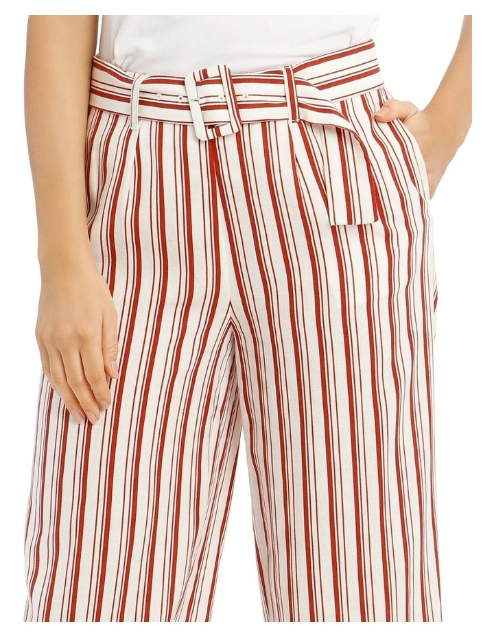 Full Length Pant With Belt And Buckle - Ecru Chilli Stripe image 4