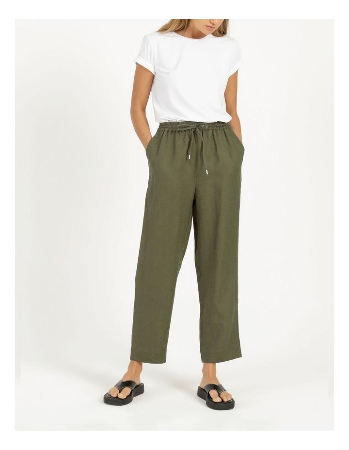 Organic Khaki Linen Straight Leg Pants image 2