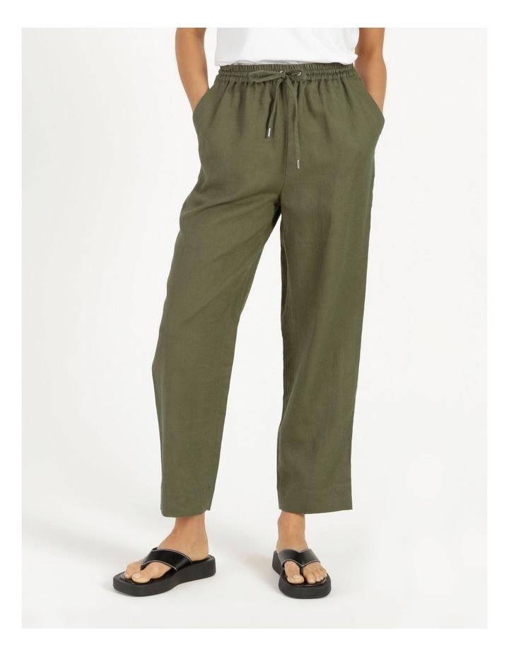 Organic Khaki Linen Straight Leg Pants image 3