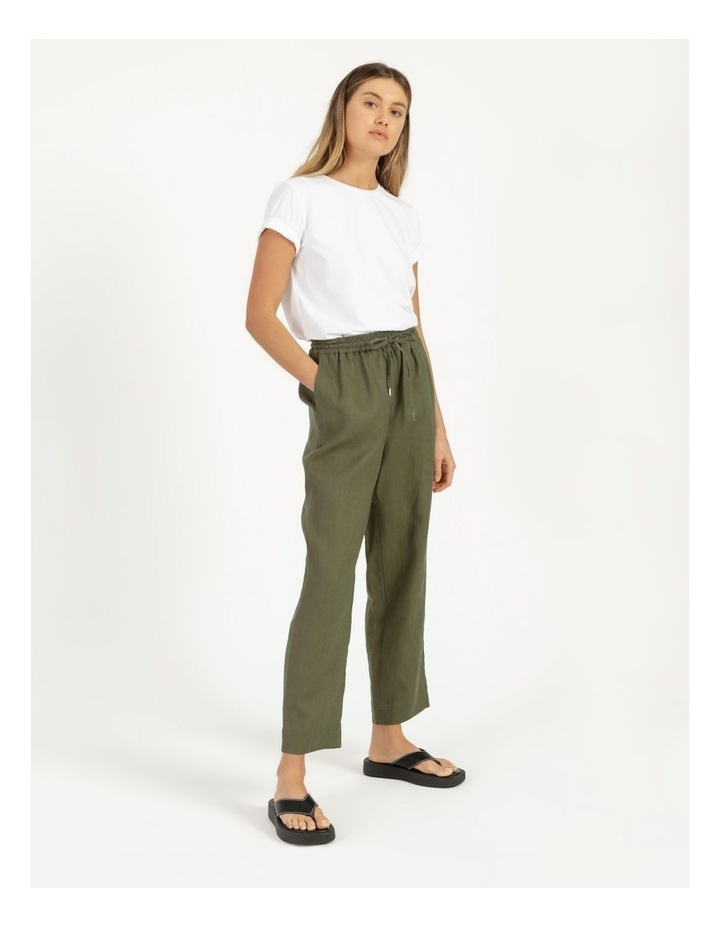 Organic Khaki Linen Straight Leg Pants image 4