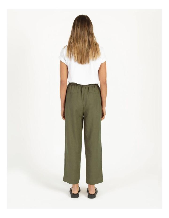 Organic Khaki Linen Straight Leg Pants image 5