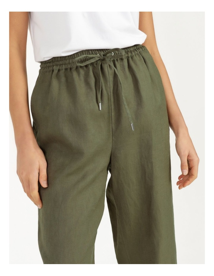 Organic Khaki Linen Straight Leg Pants image 6