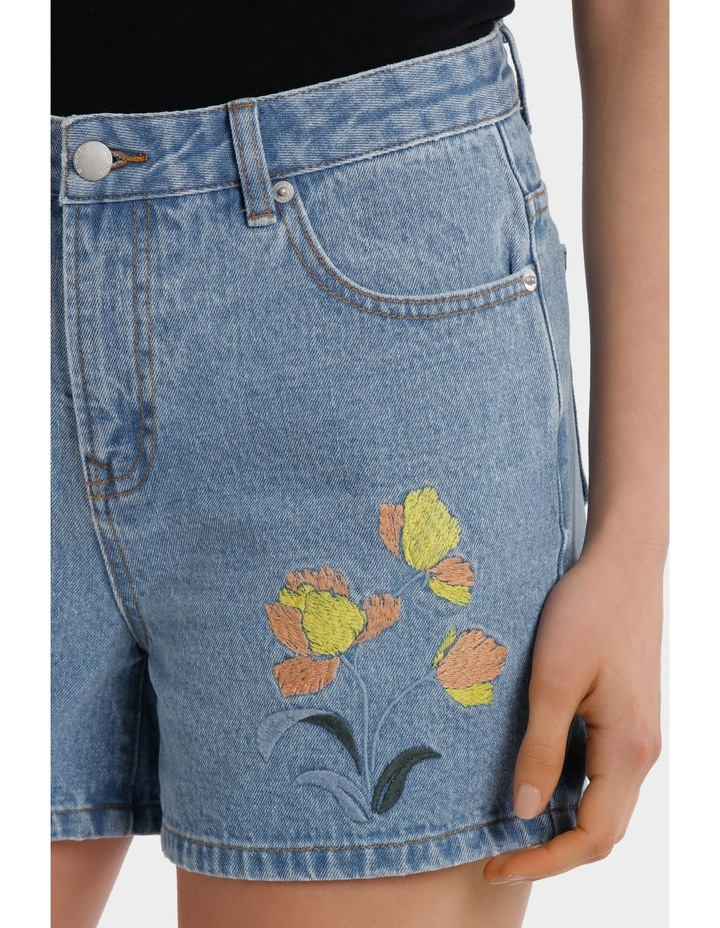 Embroidered denim short  Short image 4