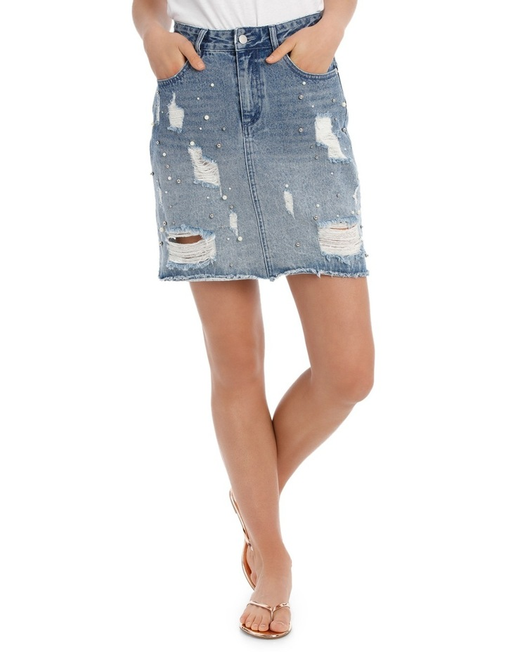 Denim Skirt with Pearls image 1