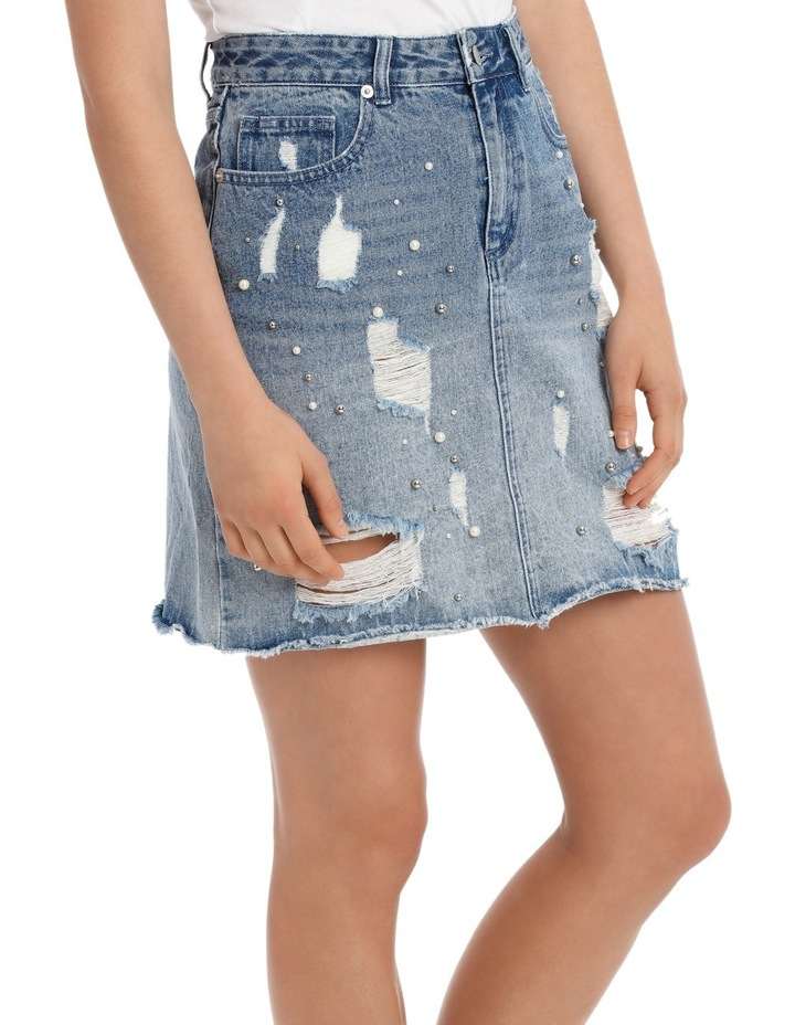 Denim Skirt with Pearls image 2