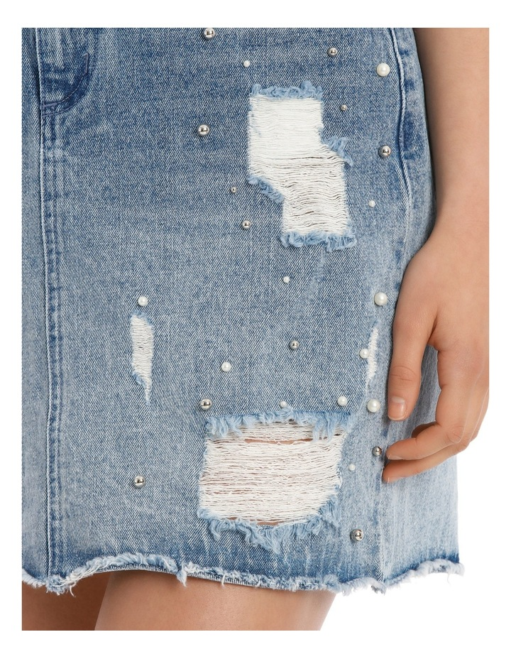 Denim Skirt with Pearls image 4