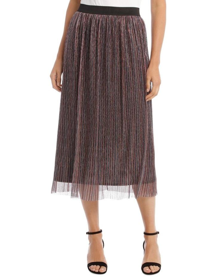 Pleated Lurex Stripe Skirt image 1