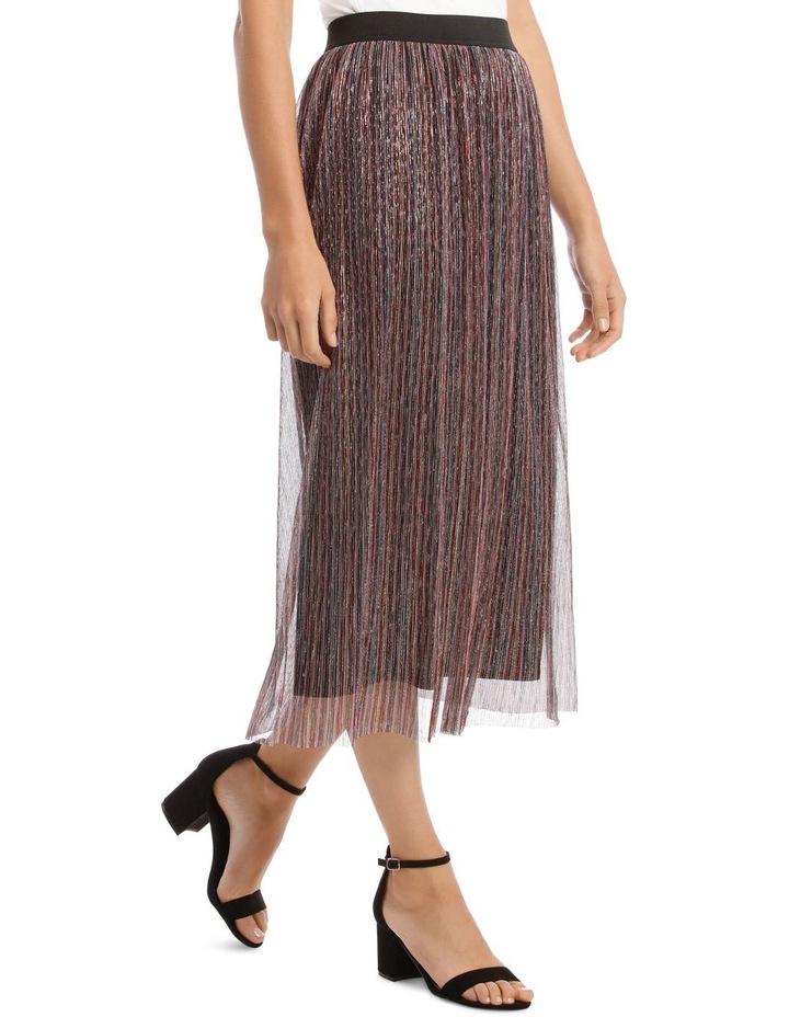 Pleated Lurex Stripe Skirt image 2