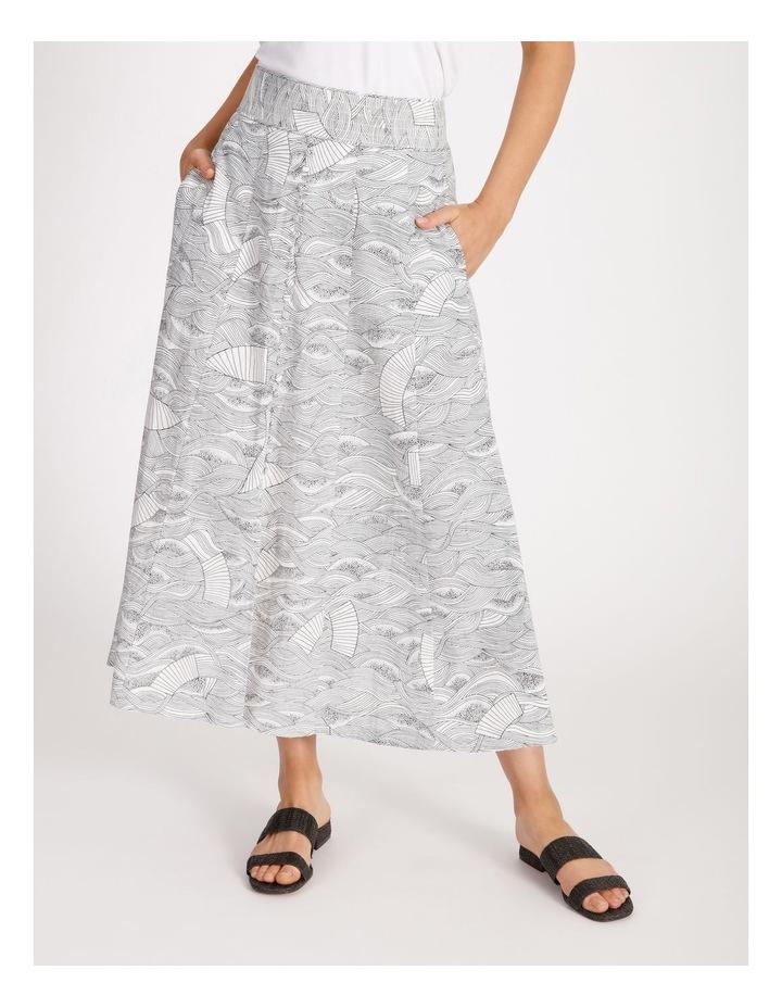 Button Front Linen Skirt image 1