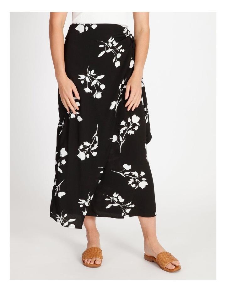 Side Tie Midi Skirt Black Silhouette Floral image 1