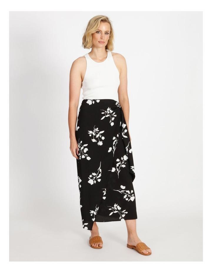 Side Tie Midi Skirt Black Silhouette Floral image 2