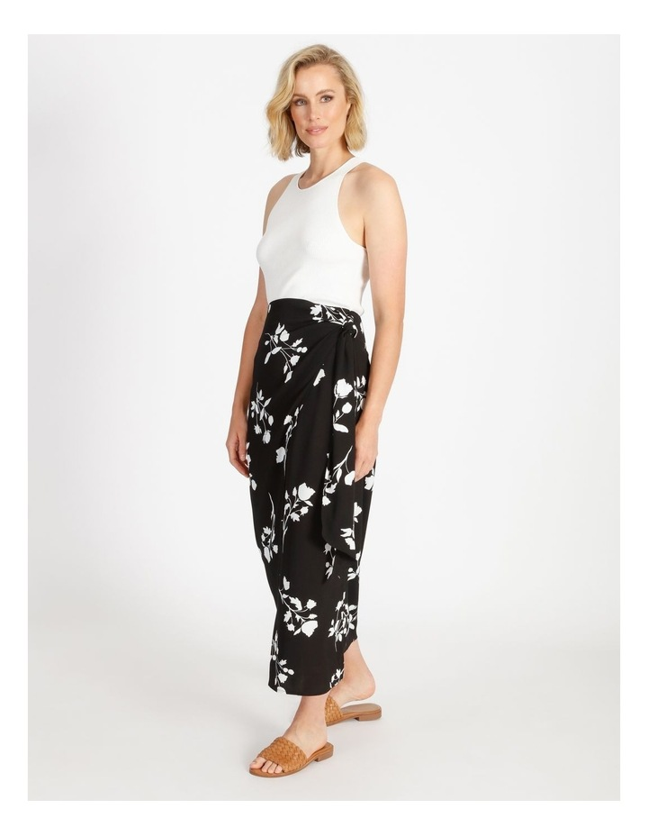 Side Tie Midi Skirt Black Silhouette Floral image 3
