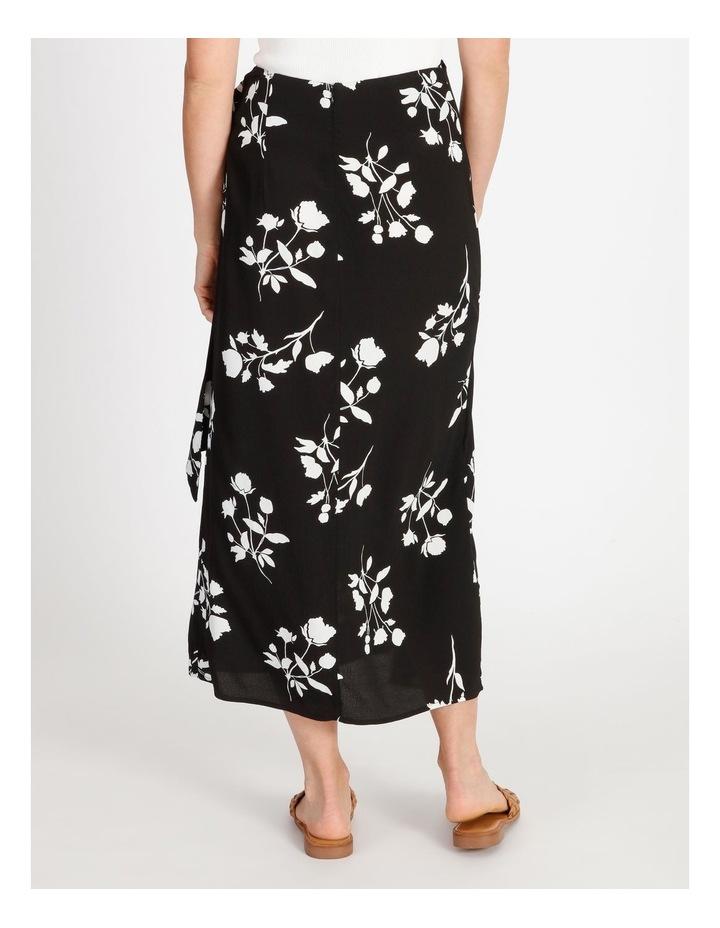 Side Tie Midi Skirt Black Silhouette Floral image 4