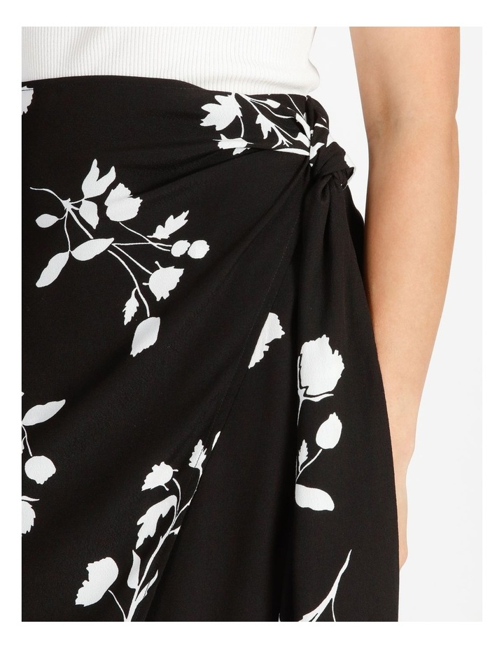 Side Tie Midi Skirt Black Silhouette Floral image 5