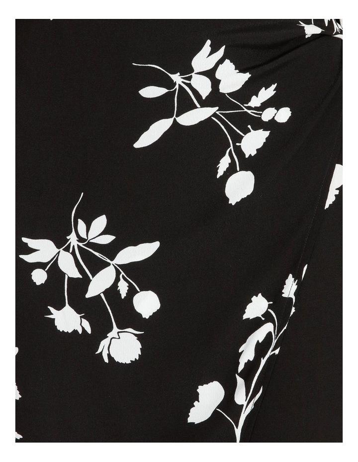 Side Tie Midi Skirt Black Silhouette Floral image 6