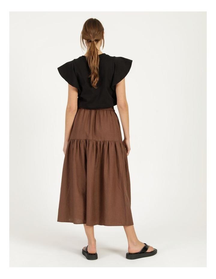Linen Blend Shirred Waist Skirt image 4
