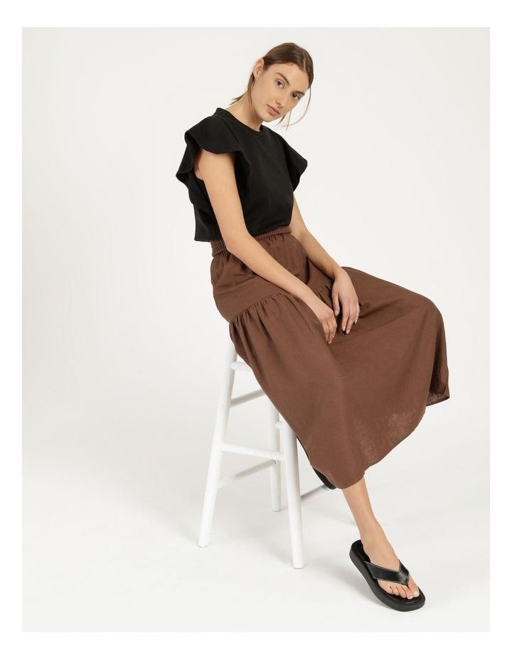 Linen Blend Shirred Waist Skirt image 5