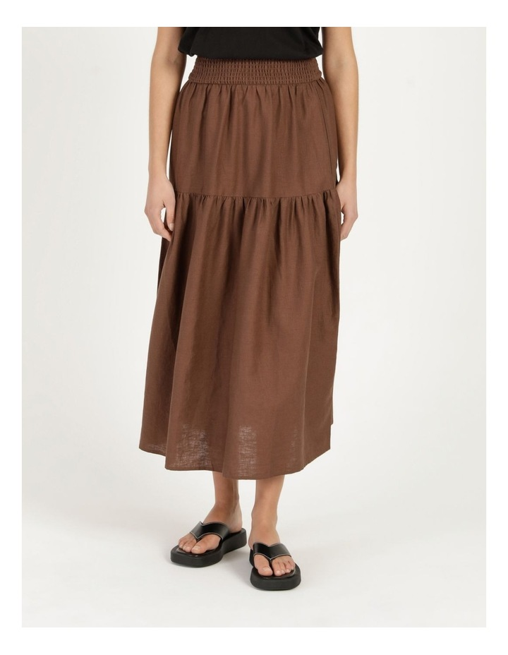 Linen Blend Shirred Waist Skirt image 6