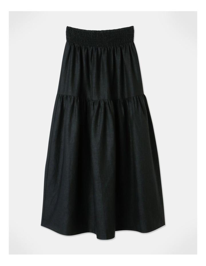 Linen Blend Shirred Waist Skirt Black image 1