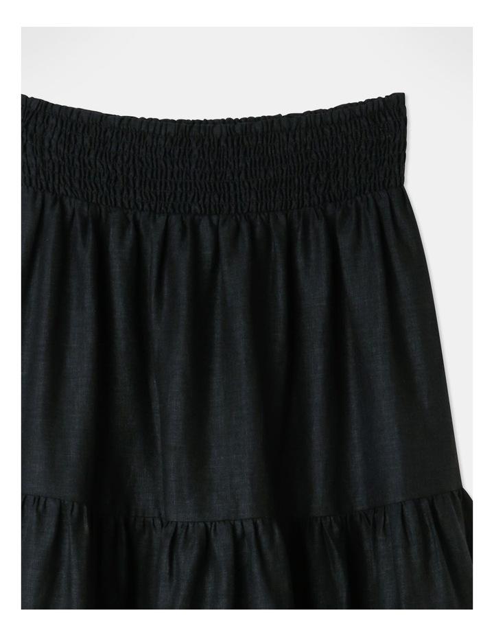 Linen Blend Shirred Waist Skirt Black image 2