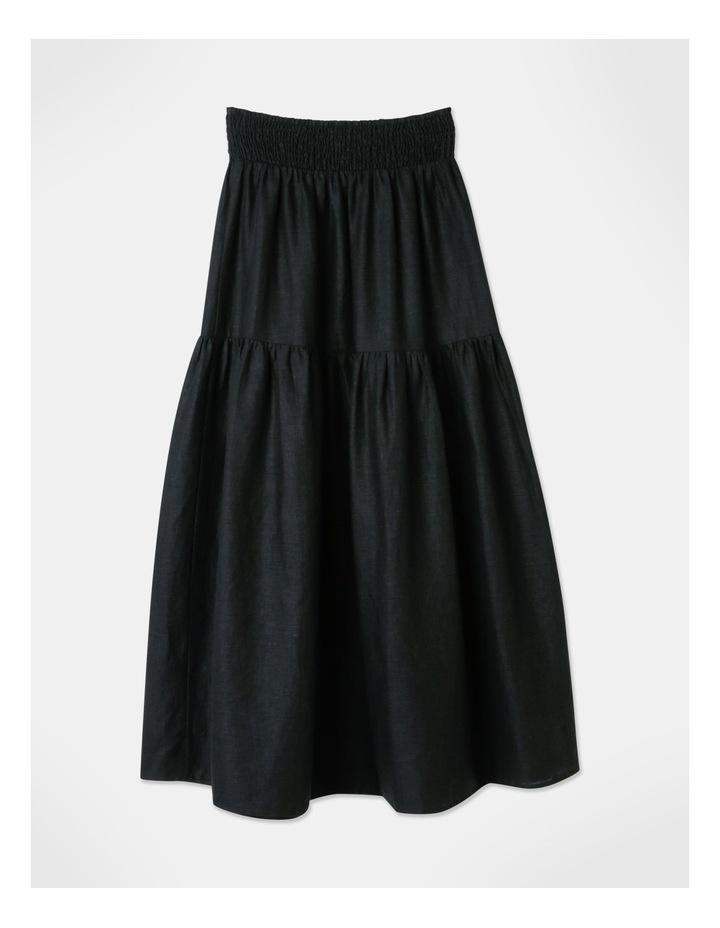 Linen Blend Shirred Waist Skirt Black image 3
