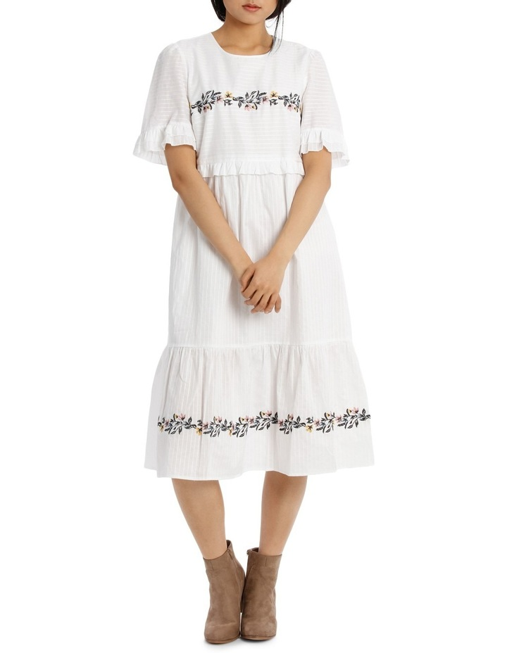 Dress Self Stripe Embroidered image 1