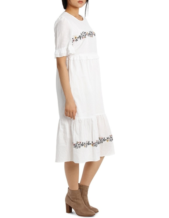 Dress Self Stripe Embroidered image 2