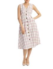 Piper - Dress Check Button Through