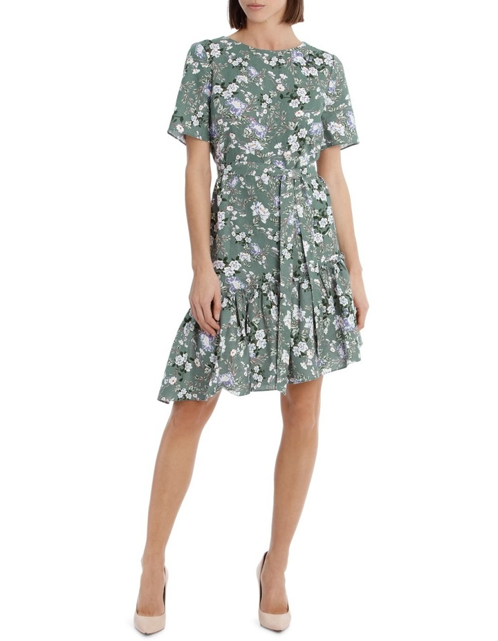 Dress Linen Side Ruffle Print image 1