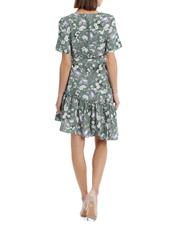 Piper - Dress Linen Side Ruffle Print