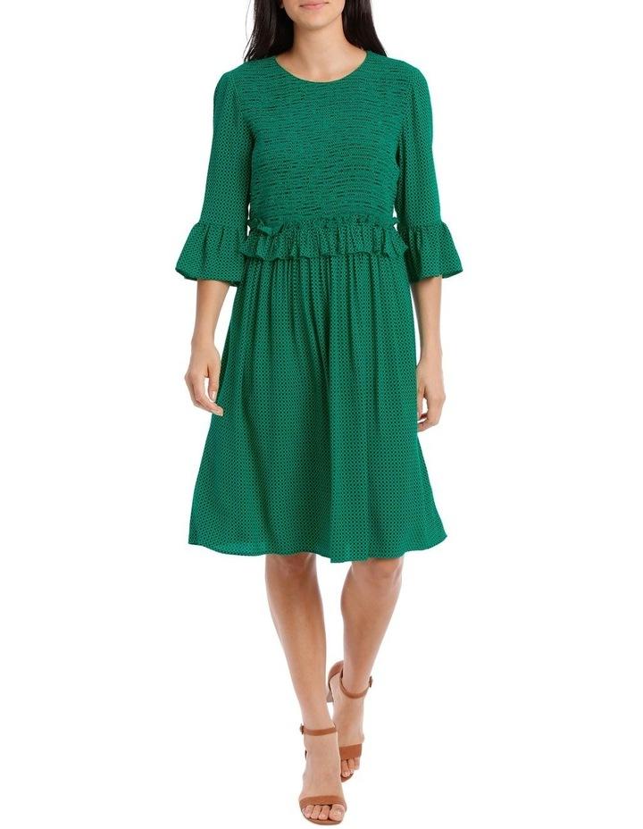 Dress Shirred with Ruffle Sleeve image 1