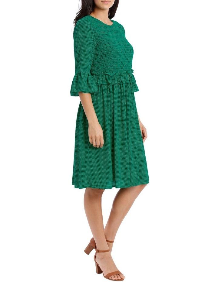 Dress Shirred with Ruffle Sleeve image 2