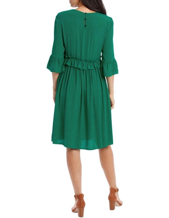 Dress Shirred with Ruffle Sleeve image 3