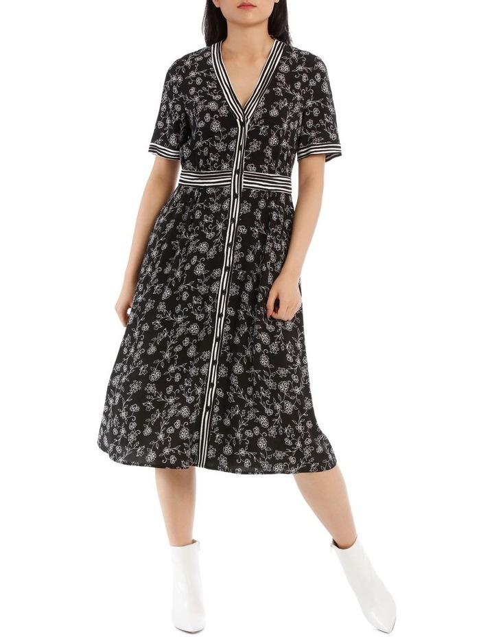 Dress Floral Stripe Short Sleeve image 1