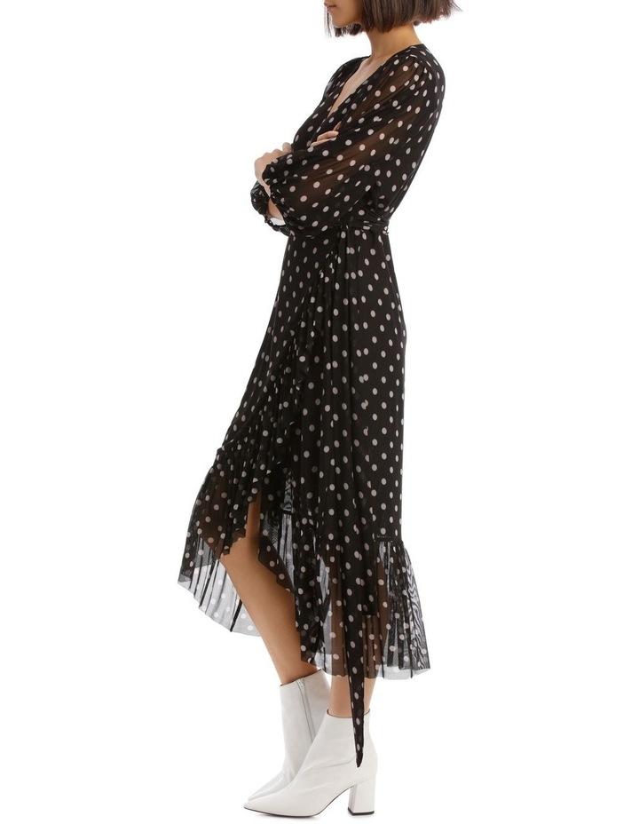 Spot Mesh Mock Wrap Dress image 2
