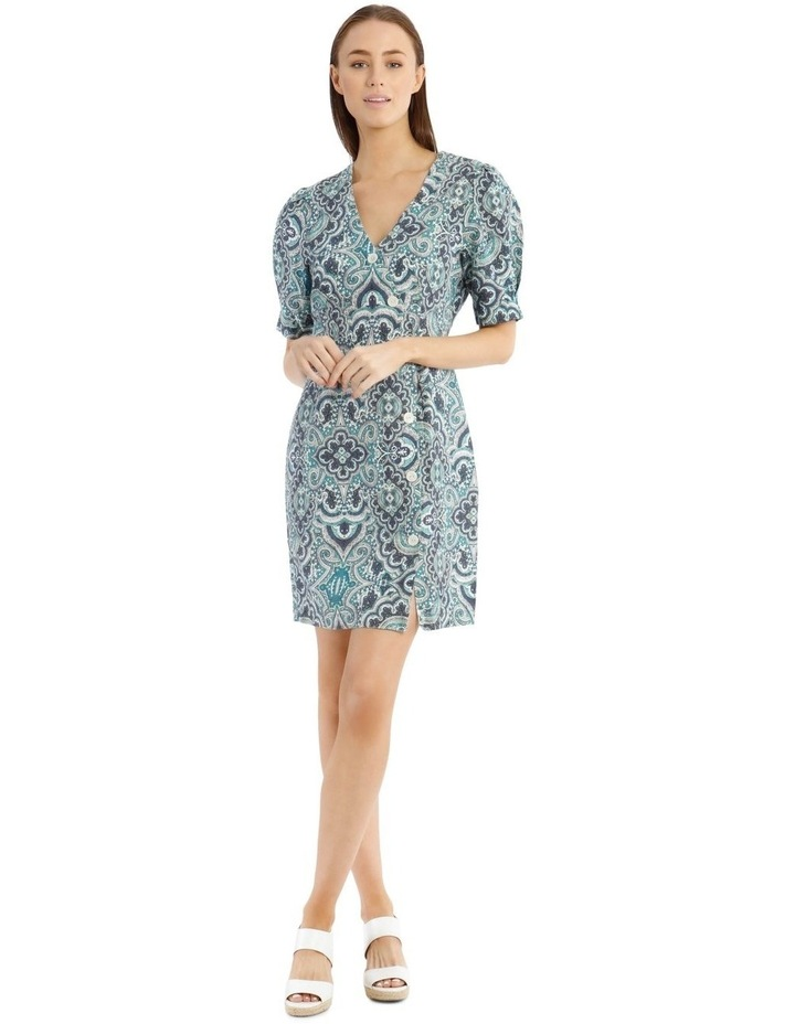 Printed Dress With Button Detail image 1